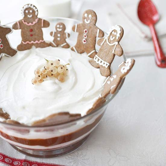 Gather the gang round for a sweet, wonderfully creamy serving of this delightful Chocolate-Caramel Trifle, complete with gingerbread people for extra holiday season fun! :) #cookies #gingerbread #Christmas #trifle #caramel #dessert #chocolate #baking #food