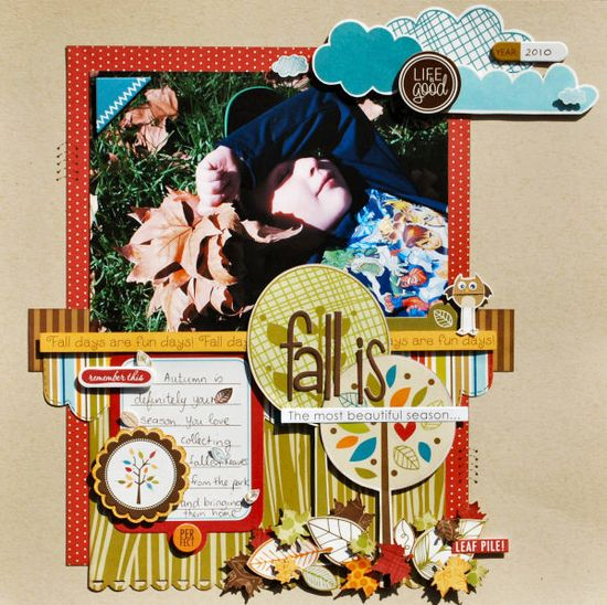 Introducing Finally Fall by Bella Blvd - Scrapbook.com - Cute layout and design! #scrapbooking #fall #bellablvd