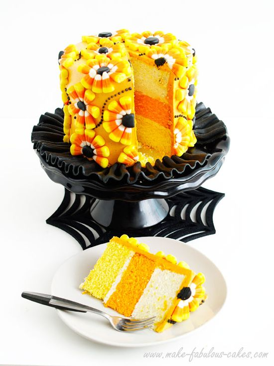 Decorating a Candy Corn Cake