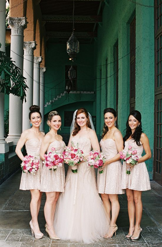 Pretty pink roses against pale blush bridesmaid dresses by Erin Fetherston