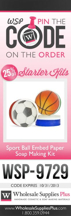 MP Soap: Sport Ball Embed Paper Soaps  Wholesale Supplies Plus #Handmade #Soap #soapmaking #Sports #Basketball #Soccer #Volleyball