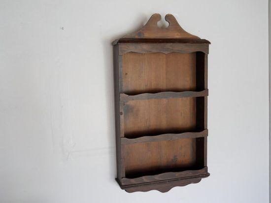 Vintage Wooden Spice Rack Rustic Kitchen Decor Curio Shelf frmo carmichaelcollection
