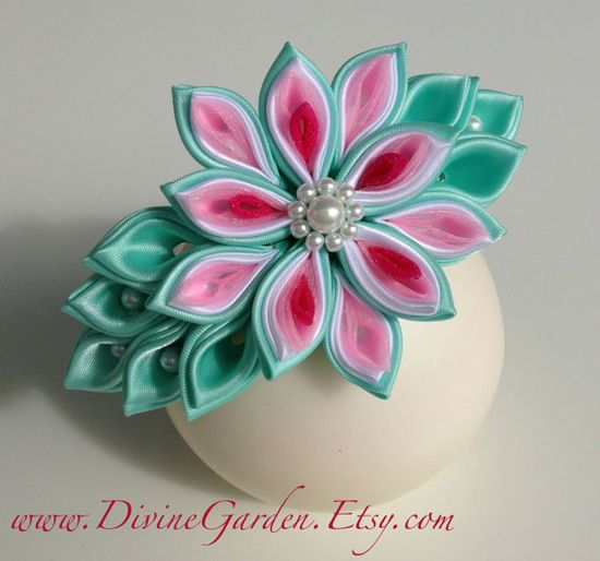 Handmade Kanzashi Satin Headband  Aqua and Pink by DivineGarden