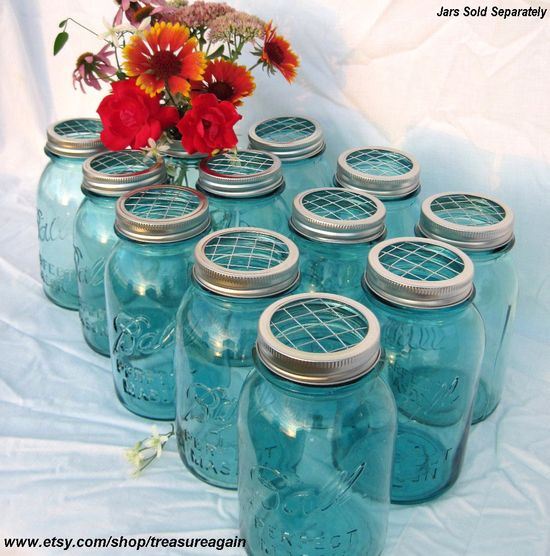 DIY Wedding Flowers Mason Jars Centerpieces 12 Upcycled FLOWER FROG Ball Jars Lids, Weddings, Garden, Flower Arrangement Lids Only