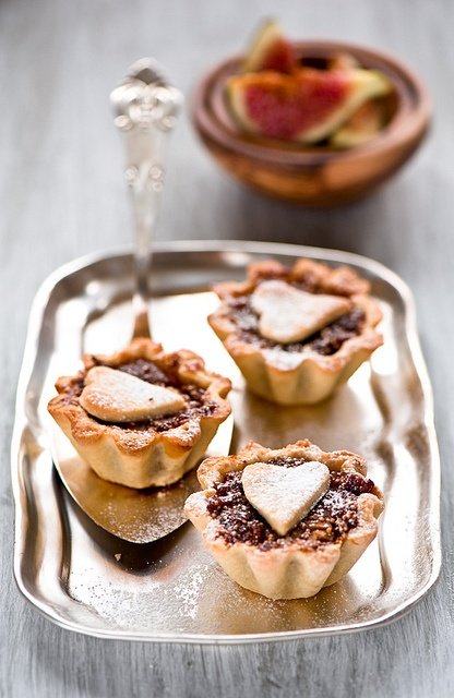 Scrumptious, adorable little heart topped Dried Fig Tarts. #tarts #figs #fruit #Christmas #winter #fall #autumn #food #baking #dessert