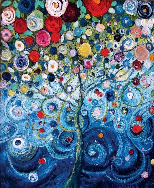 A Tree of Life, 36 x 48, oil and acrylic starlamichelle.com/