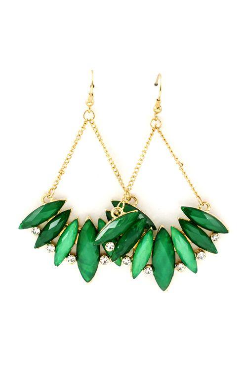 Paris Green Marquise Earrings. stunning green.