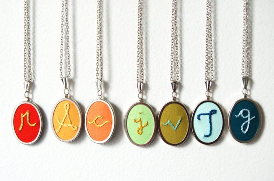Embroidered Initial Necklaces. By Merriweathercouncil, $35