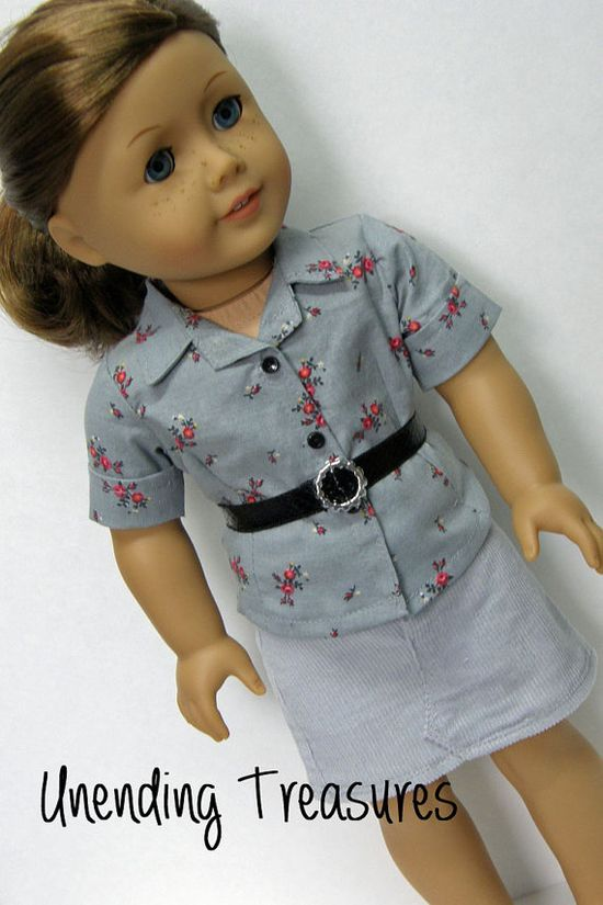 American Girl doll clothes - skirt, shirt, and belt, 18 inch doll clothes