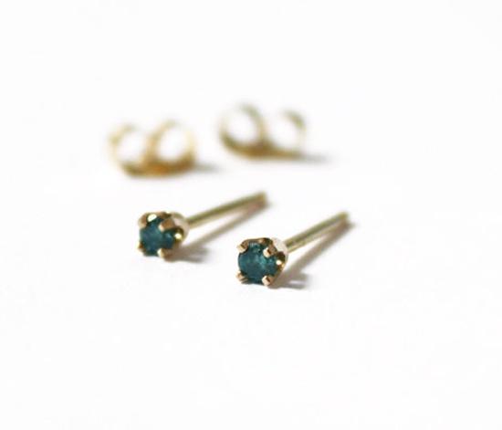 blue diamond + gold studs
