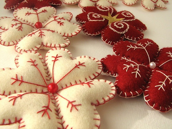 stitched heart snowflakes