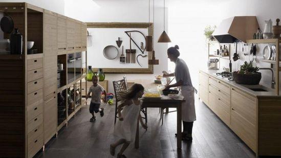 Sleek Kitchen Design With Wooden Inlays by Gabriele Centazzo