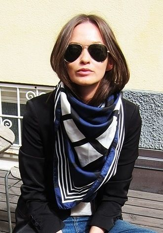 Silk scarf and aviators.