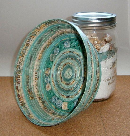Handmade Paper Basket  Aqua
