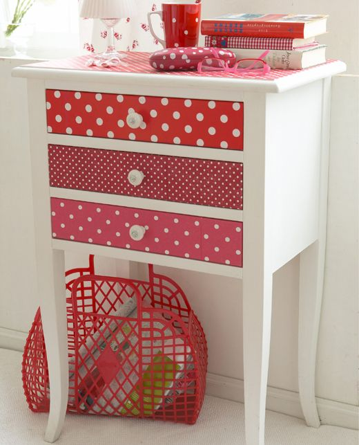Because this is adorable for a bedside table. Mix of painted furniture and wallpaper on drawers/top. Easy update for a garage sale find. So cute.  Do something like this is blue on cabinet in front hall?