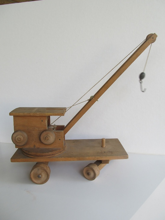 Vintage Folk Art Toy Wood Crane.