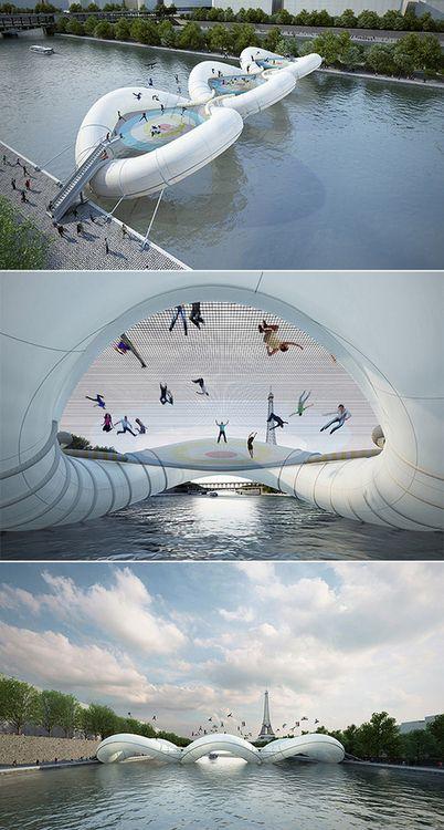 Trampoline Bridge in Paris   by AZC Architecture