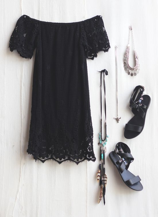 black scalloped dress and cute accessories