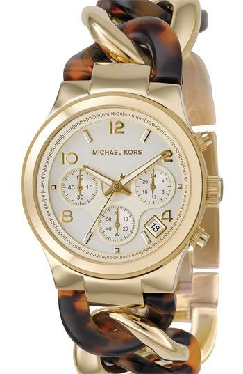 Michael Kors Chain-Link Watch in Tortoise