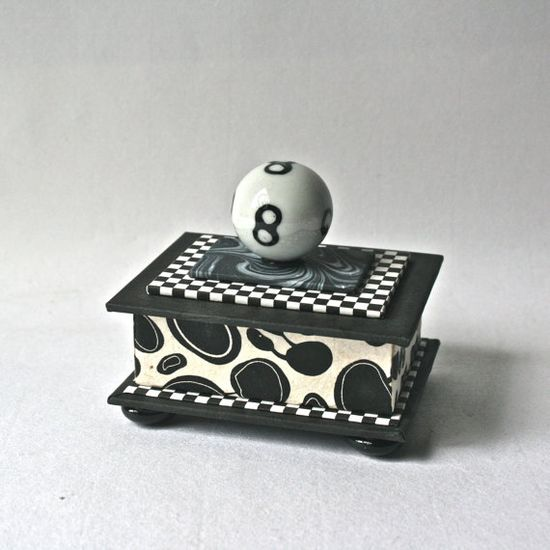 Black and White Handmade Gift Box with Eight Ball by DebraGlanz, $38.00