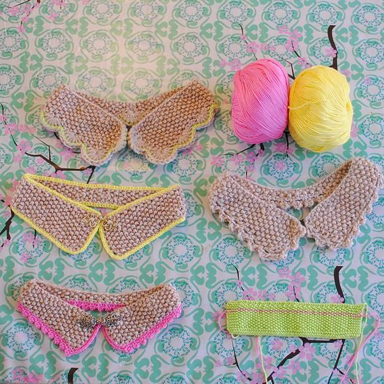 Collars. So pretty with the pink and yellow edging.