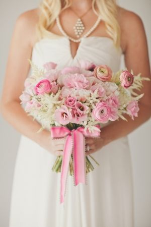 pink and cream wedding bouquet by BowsandArrowsDelu... // photo by nbarrettphotograp...