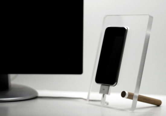Floating iPhone 4 4s charging station phone dock.via Etsy.