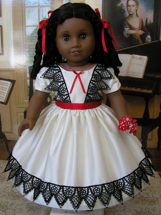 American Girl mid1800s ivory/black/red silk dress by dolltimes, $114.00
