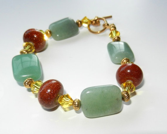 Glittering Goldstone and Aventurine Bracelet by CloudNineDesignz, $25.00