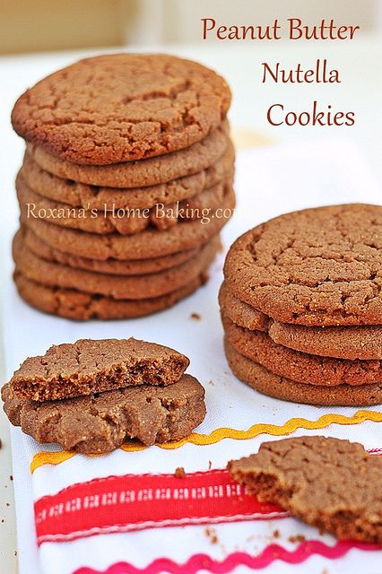 Peanut Butter Nutella Cookies.  OMG I made these with Vermont Peanut Butter www.cleverhen.com....  AMAZING. #nutella #dessert #cookies #peanutbutter