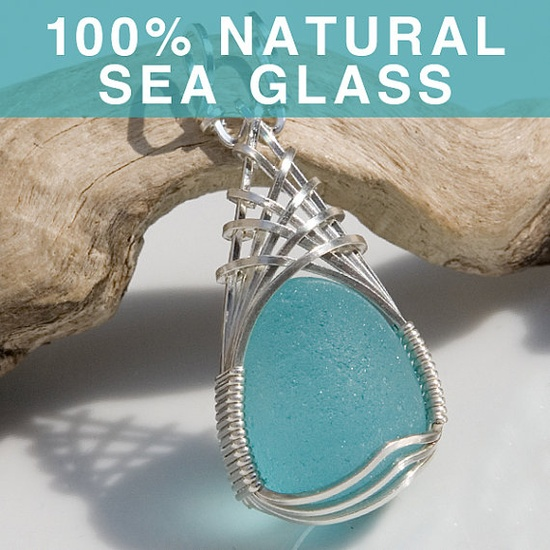 Unusually Beautiful Sea Glass Woven Wire Pendant