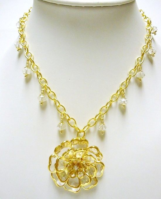 Gold Necklace Flower Pendant Crystal Jewellery Vogue by cdjali, $35.00