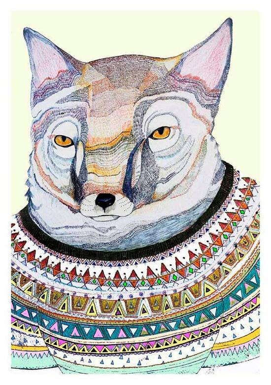 Fox wearing sweater