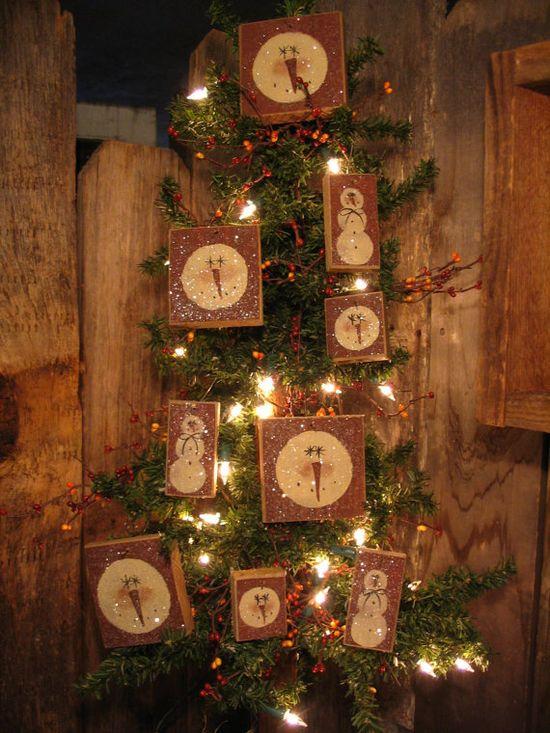 9 Snowman Primitive Christmas Tree Ornies Glittered