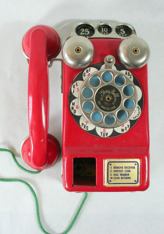 vintage metal toy phone / justinnardy on etsy