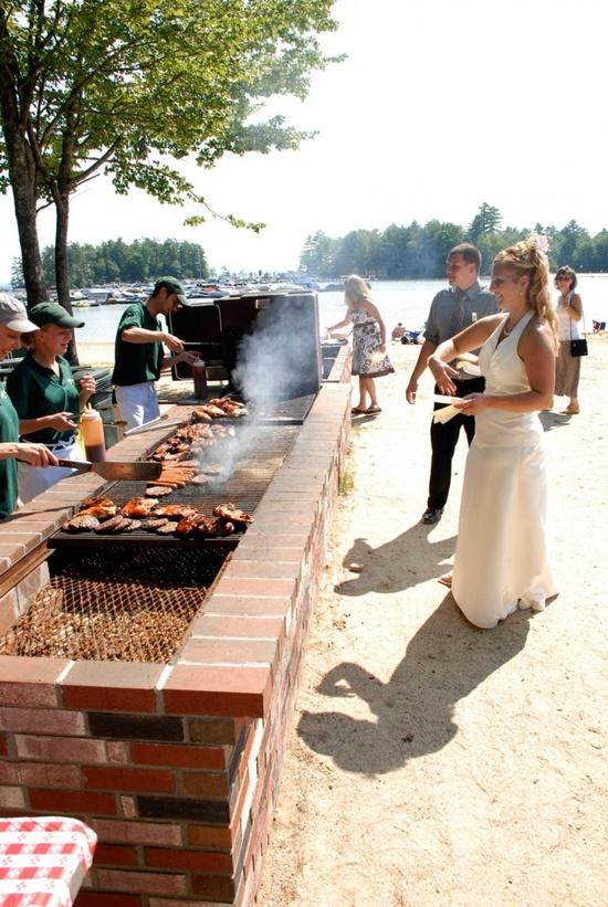 Bride at Beach BBQ Wedding Reception