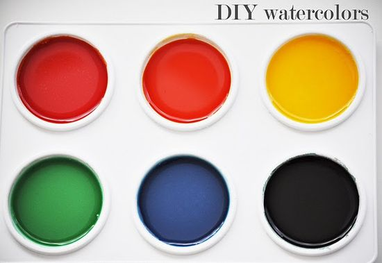 homemade watercolor paints, they're solid Combine 3 tablespoons each of the baking soda, cornstarch and vinegar and add 1 1/2 teaspoons of the corn syrup/sugar substitute. Allow the fizzing to subside and mix completely. Pour the mixture into whatever you'd like to use to hold your paints. I bought a $2 paint tray at Michaels, but you can also use a plastic egg carton. Add the food coloring to create your desired palette and leave out to harden for three hours. Make sure you add the food coloring relatively quickly; the mixture actually starts to solidify almost right away.