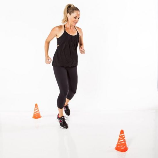 Add a figure-8 jog between two cones for a cardio station when you build your own bootcamp.