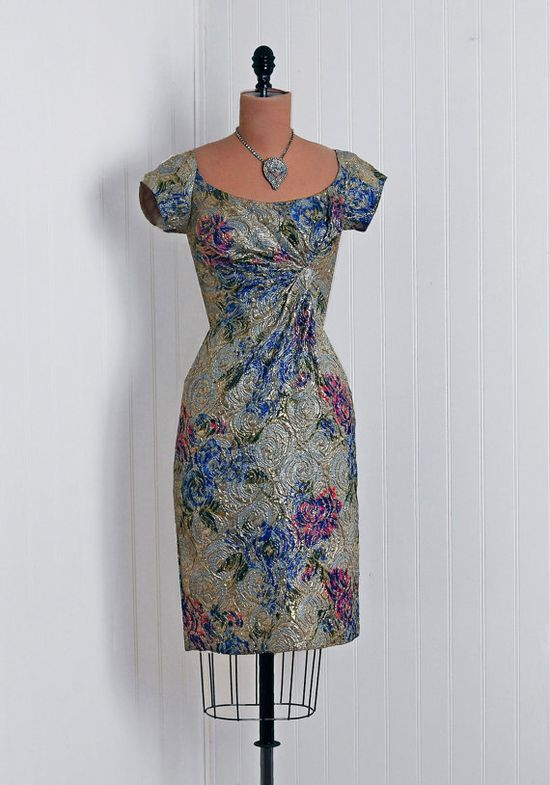A shimmering, endlessly gorgeous 1950s cocktail dress that's redolent of a Monet painting come to life. #cocktail #floral #art #beautiful #vintage #dress #clothing #fashion #1950s #fifties #50s