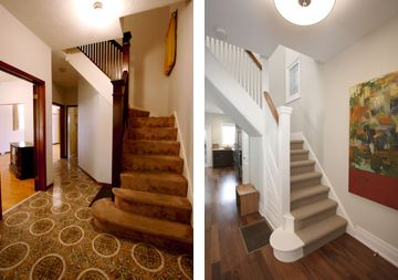 Updated staircase including new carpet, floor, railing and paint. Homesandlifestyle...   #before #after #interior #design #home #decor #staircase