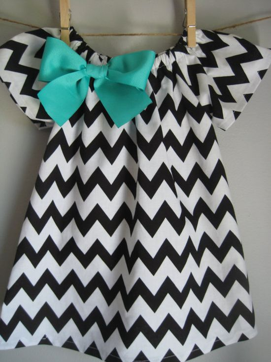 Black Chevron Dress Baby Dress Toddler Dress Girls Dress (with removable bow) Sizes Newborn -Size 6
