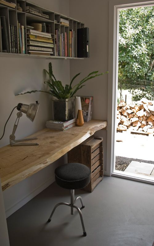 Workspace. Love the natural wood table.