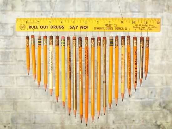 pencil & ruler chimes #backtoschool, #teacher, #gift, #homemade