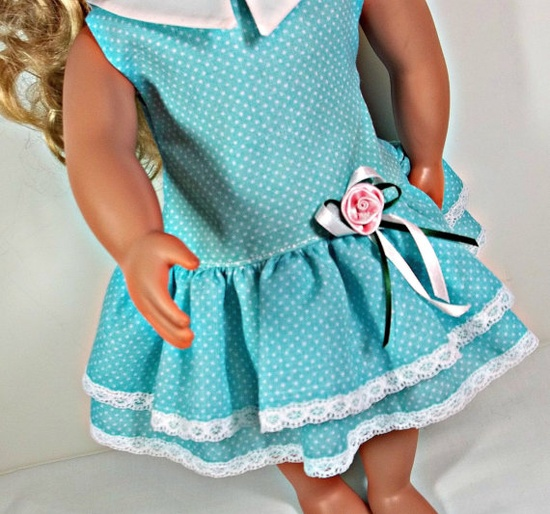 American Girl Doll Clothes  Aqua Dress White by snowflakeboutique, $18.00