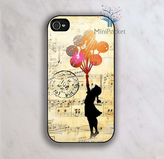 Banksy Balloon Girl Music Sheet - iPhone 4 Case, iPhone 4s Case, iPhone 5 case. $8.99, via Etsy.