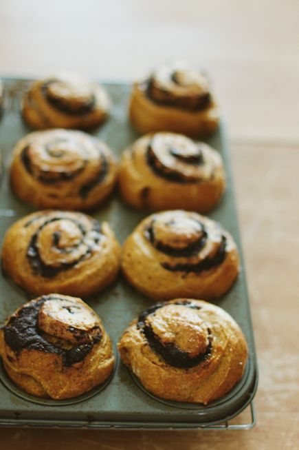 pumpkin brioche swirl buns