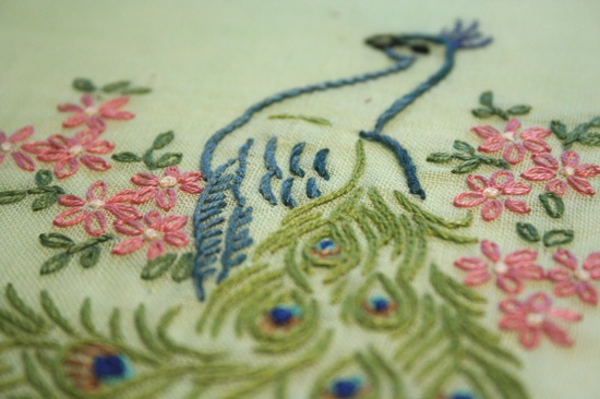 vintage peacock embroidery