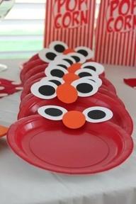 DIY Elmo Plates for sesame street party