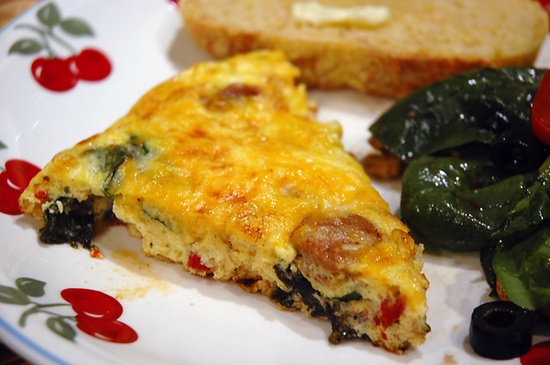 Roasted Pepper, Italian Sausage, and Spinach Frittata