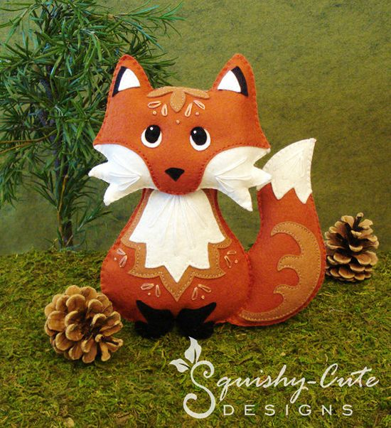 Red Fox Sewing Pattern PDF Woodland Stuffed by SquishyCuteDesigns